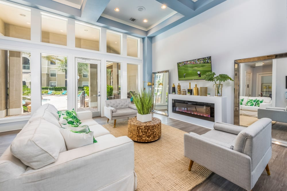 Spacious model living room at Eddison at Deerwood Park in Jacksonville, Florida