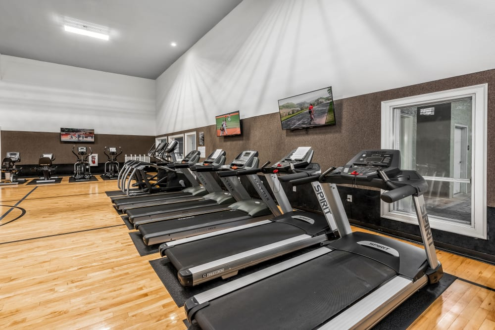 Large fitness center at Eddison at Deerwood Park in Jacksonville, Florida