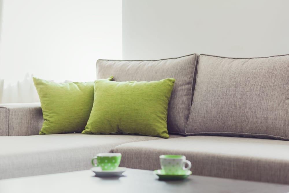 Bright green throw pillows at Fairbrooke Senior Apartments in Aberdeen, Maryland
