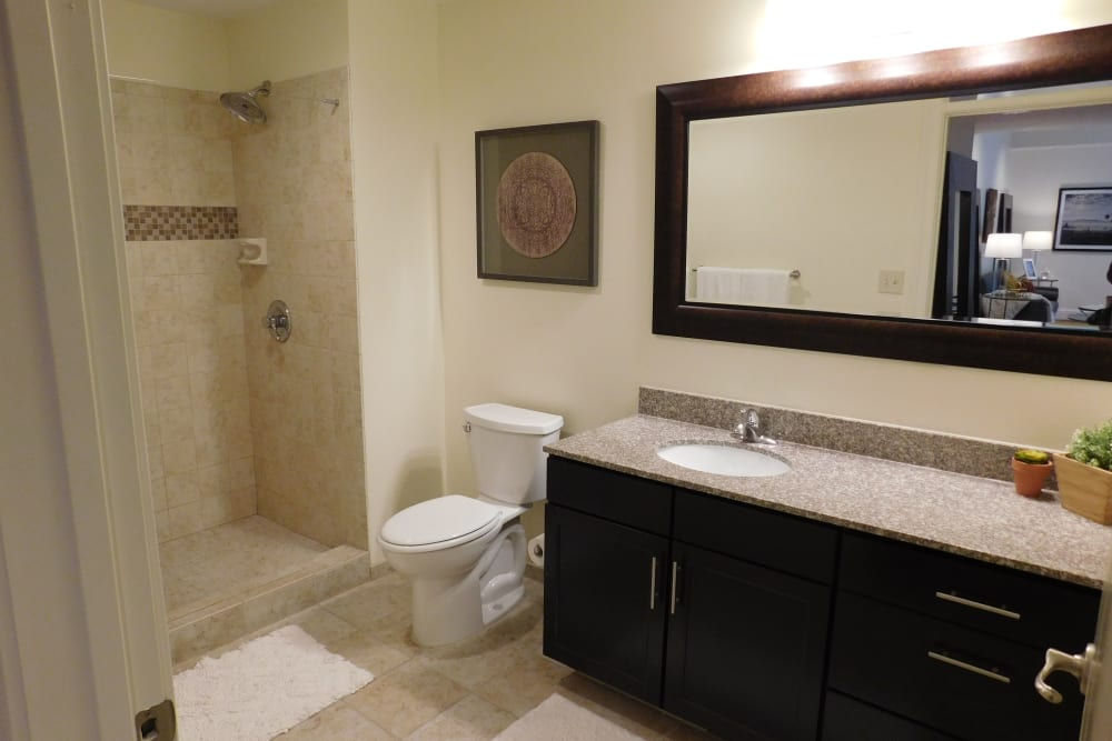 Bathroom with walking shower at The Reserve at 4th and Race in Cincinnati, Ohio