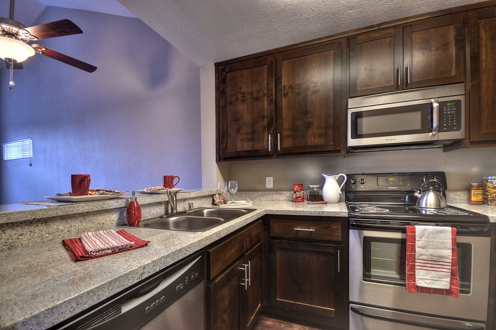 Apartment kitchen at Larkspur Woods in Sacramento, California