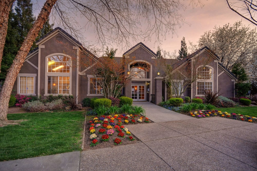 Beautifully manicured landscaping at Larkspur Woods in Sacramento, California