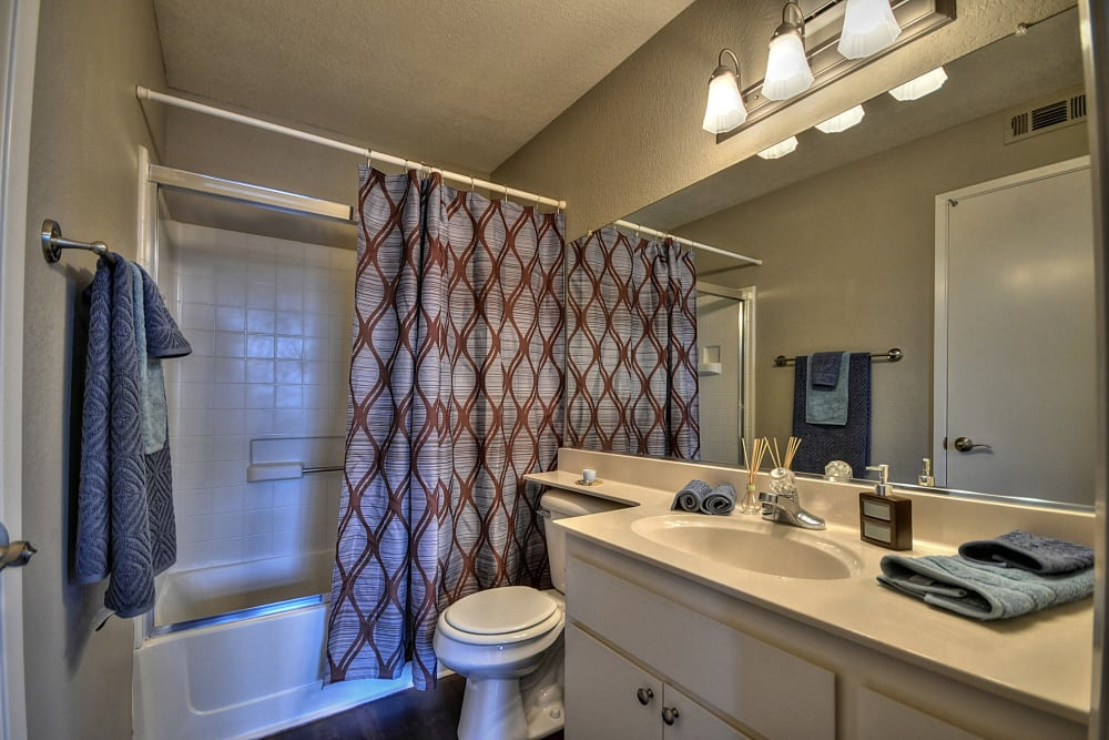 A bathroom with a large vanity mirror at Larkspur Woods in Sacramento, California