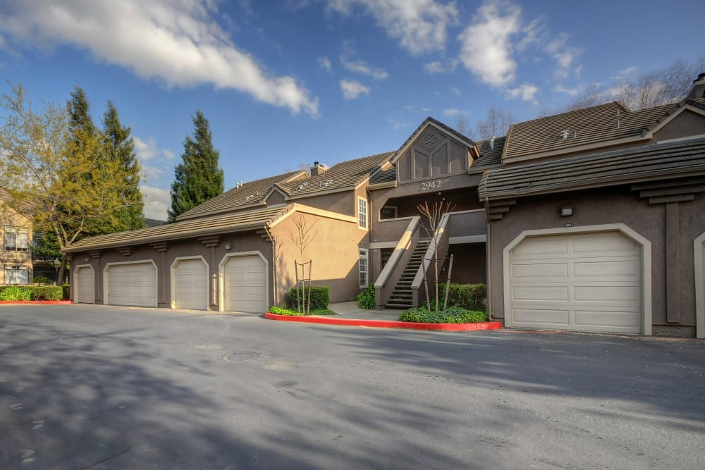 Garage parking for residents at Larkspur Woods in Sacramento, California