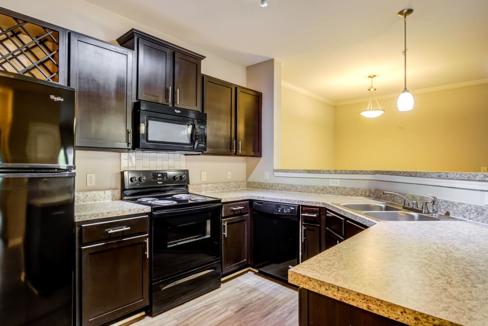 Luxury kitchen with black appliances at Ansley Commons Apartment Homes in Ladson, South Carolina