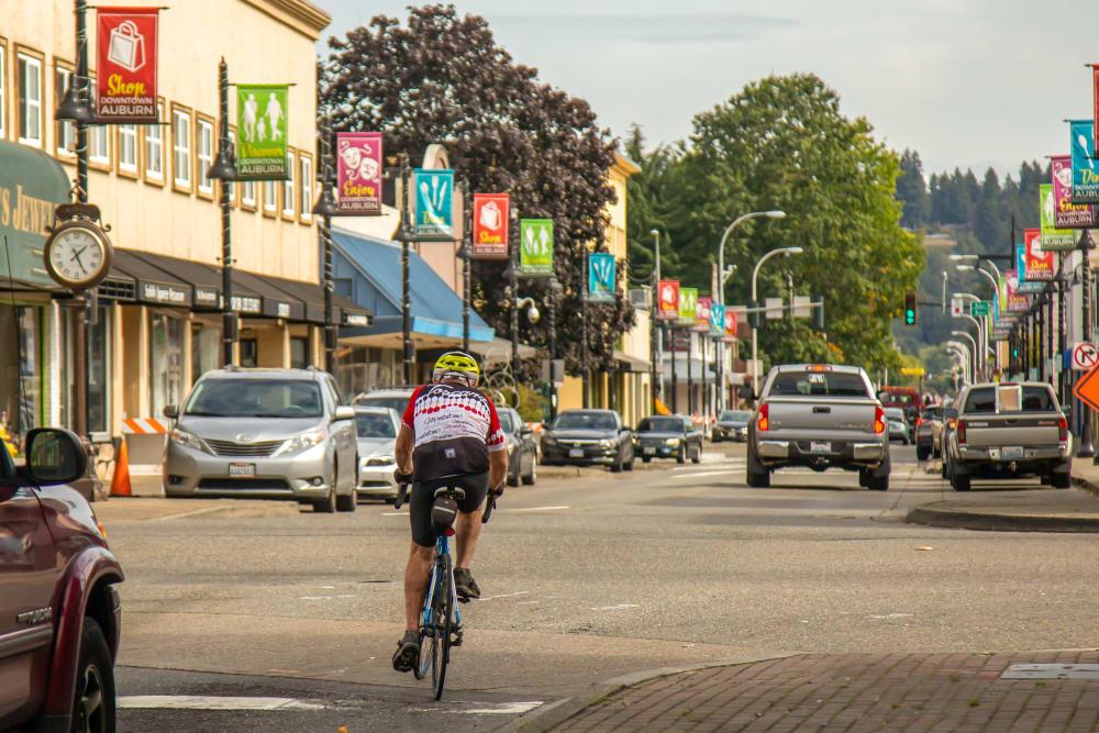 Resident riding their bike near The Verge in Auburn, Washington