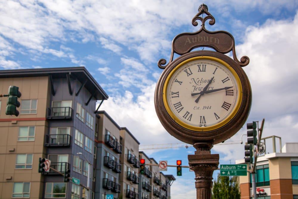 Street-side clock in Auburn, Washington near The Verge