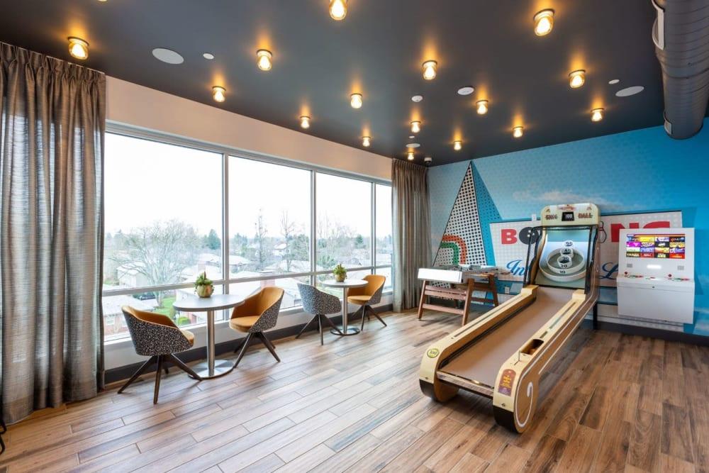 Arcade lounge at ArLo Apartments in Portland, Oregon