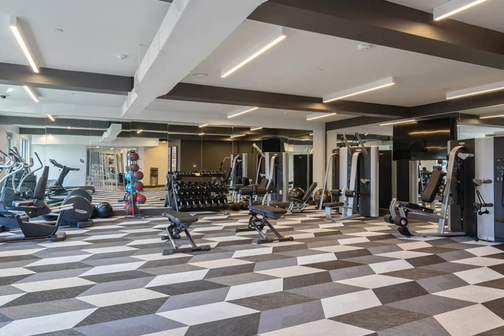 Onsite fitness center at ArLo Apartments in Portland, Oregon