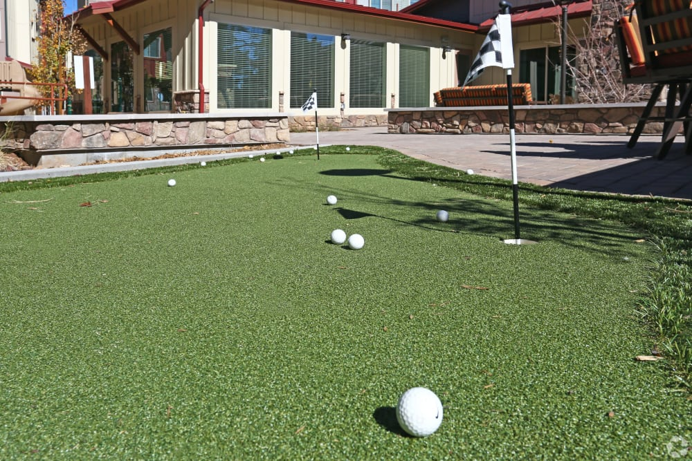 A resident putting green at Mountain Trail in Flagstaff, Arizona