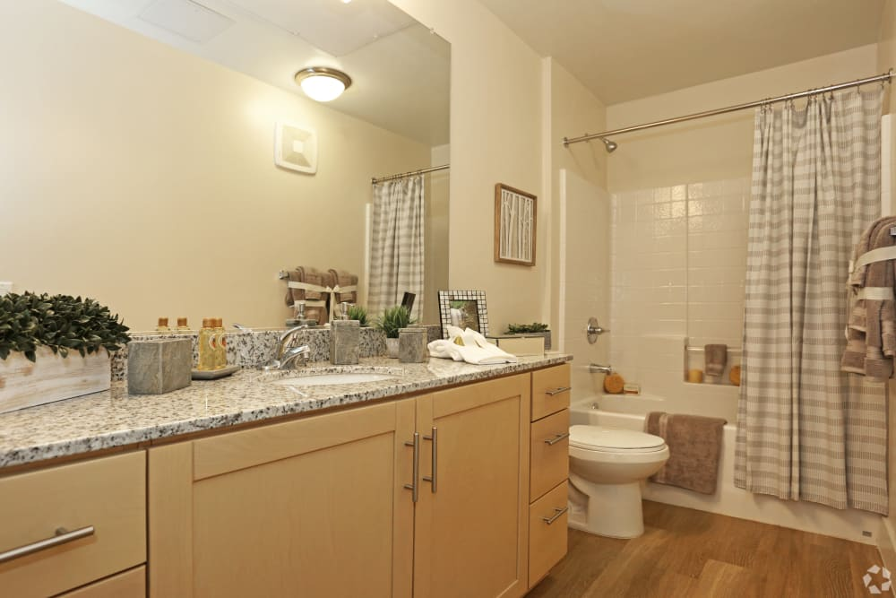 Spacious resident bathroom at Mountain Trail in Flagstaff, Arizona