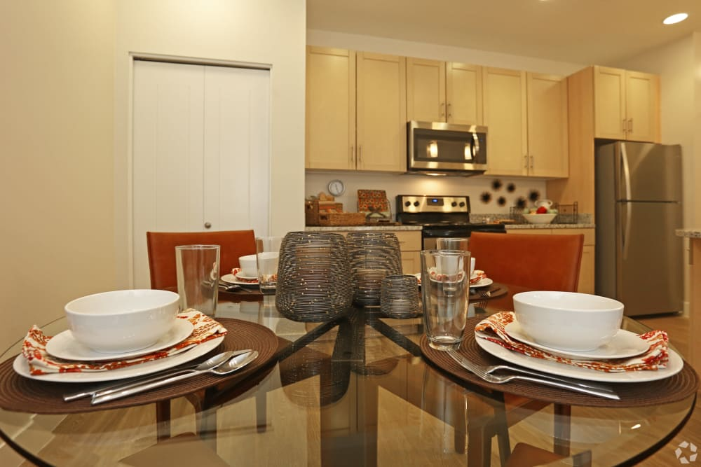 A model dining room table setting at  Mountain Trail in Flagstaff, Arizona