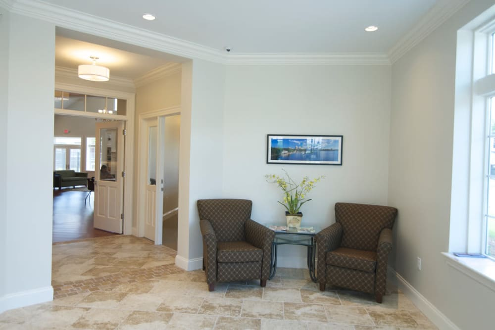 Lobby seating area at Park Village West in Westborough, Massachusetts