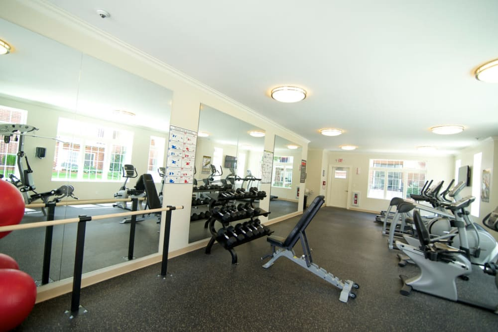 Fully equipped fitness center at Park Village West in Westborough, Massachusetts