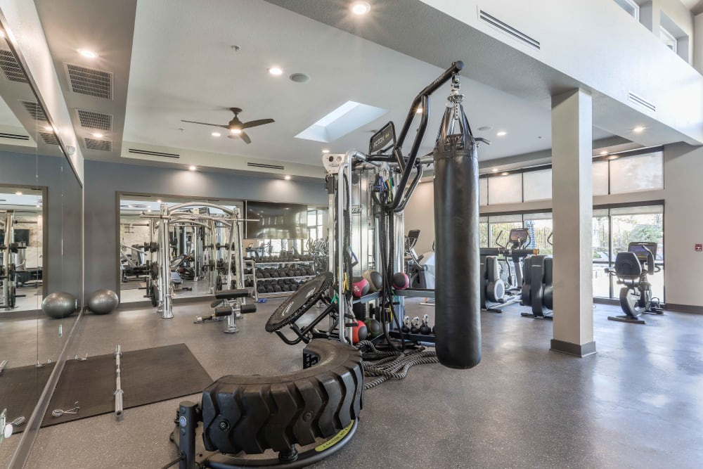 Fitness center at Summit at Flatirons Apartments in Broomfield, Colorado