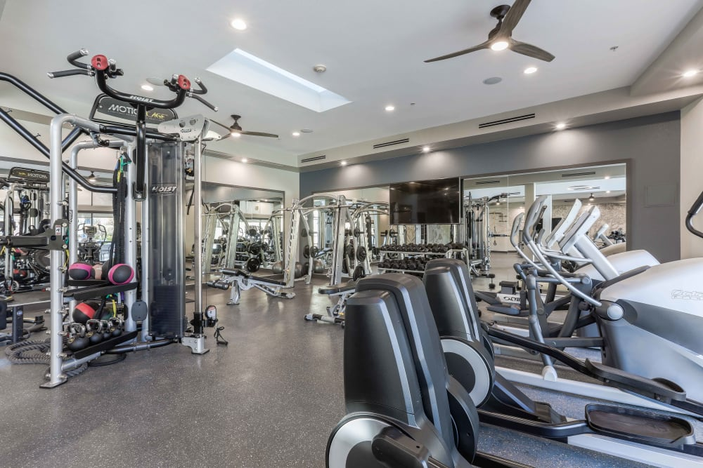 Fully equipped fitness center at Summit at Flatirons Apartments in Broomfield, Colorado