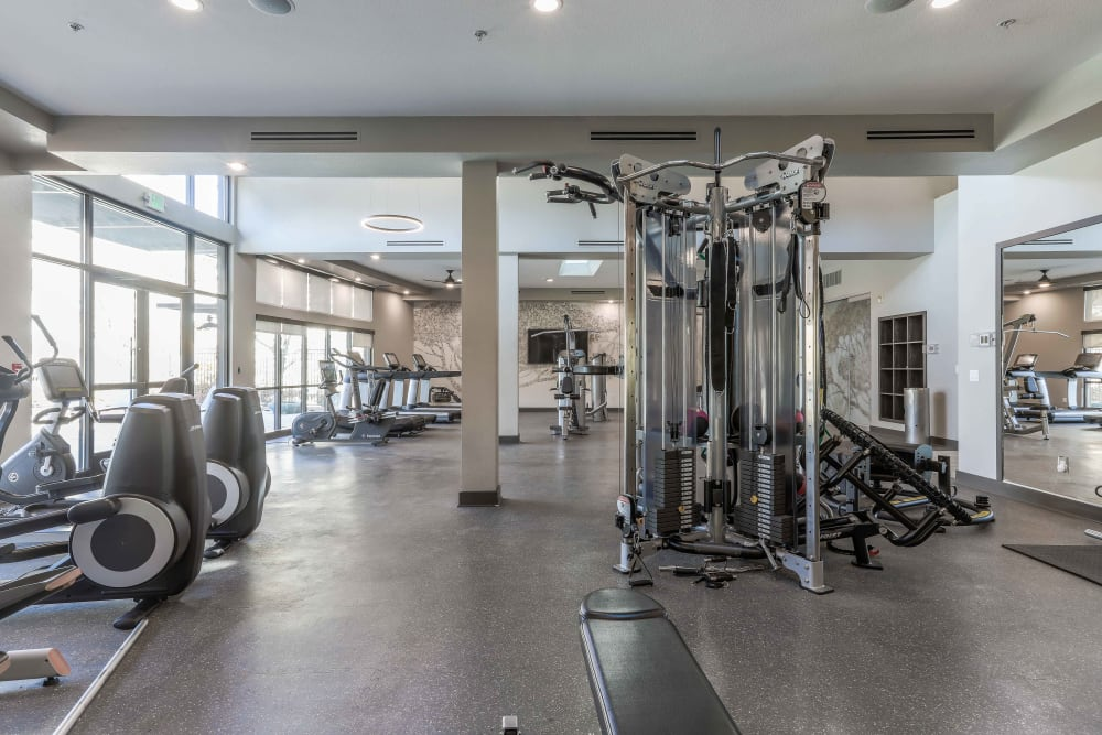 Fitness center for residents at Summit at Flatirons Apartments in Broomfield, Colorado