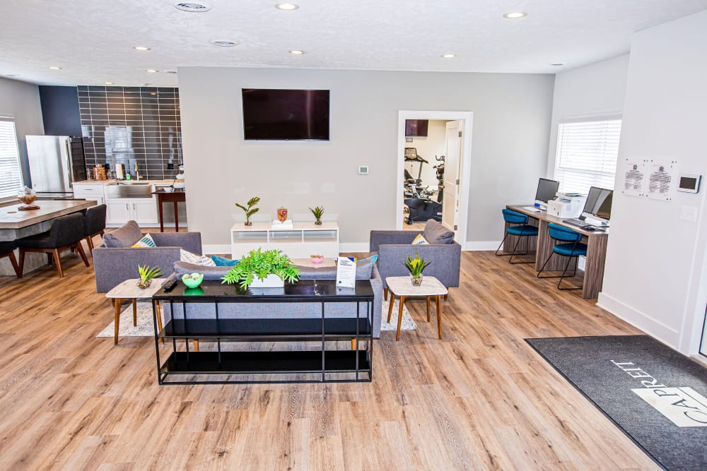A clubhouse with plenty of space for entertaining guests at Silver Lake Hills in Fenton, Michigan