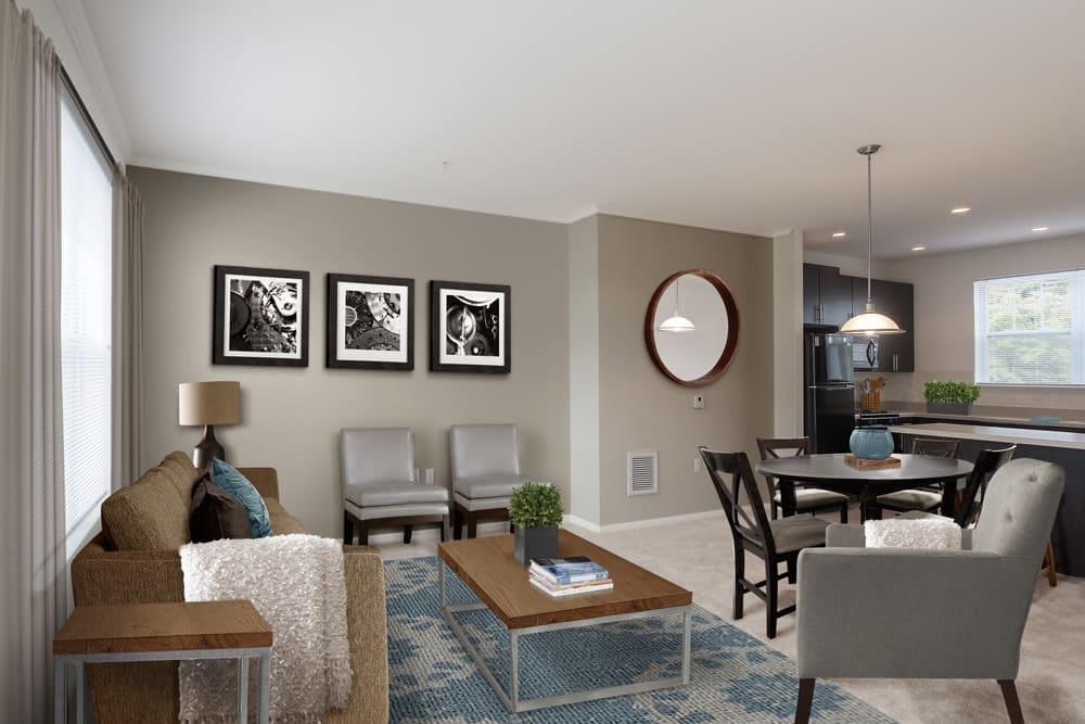 Rendering of living room at The Grove Somerset in Somerset, New Jersey