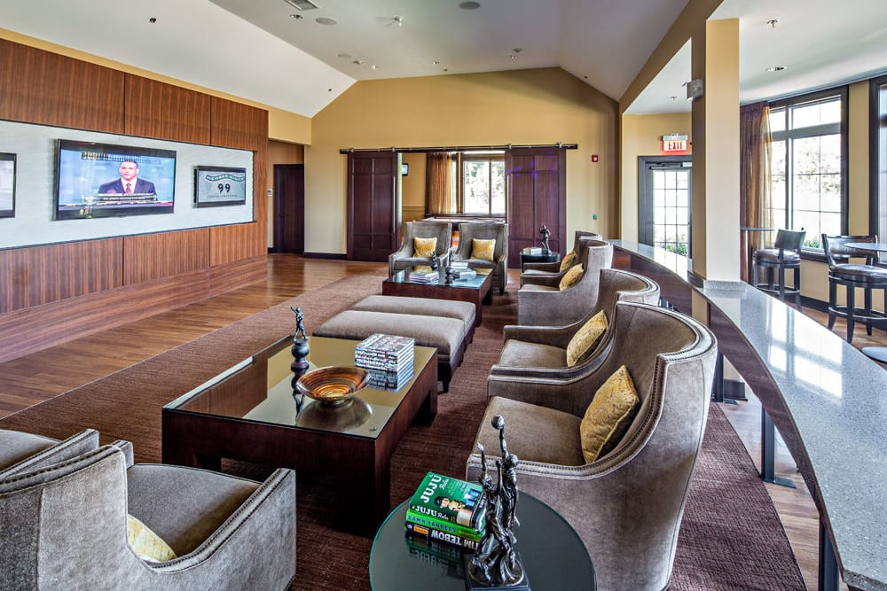 Clubhouse TV and couches at The Grove Somerset in Somerset, New Jersey