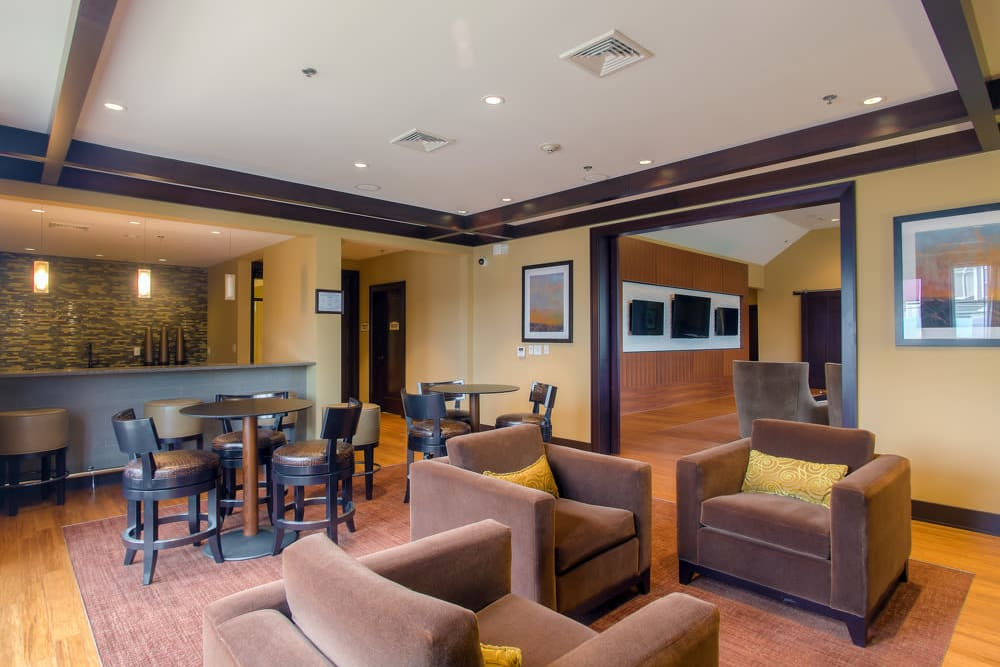 Clubhouse seating at The Grove Somerset in Somerset, New Jersey