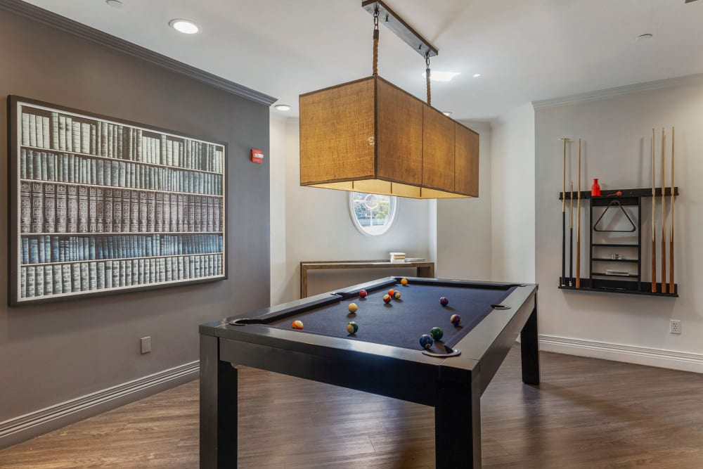 Awesome billiards table in the clubhouse at Sofi at Salem Station in Salem, Massachusetts