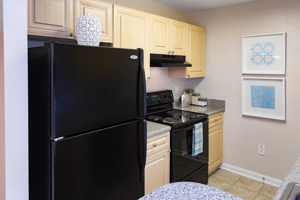 Sleek black appliances in a model home's kitchen at The Vinings at Newnan Lakes in Newnan, Georgia