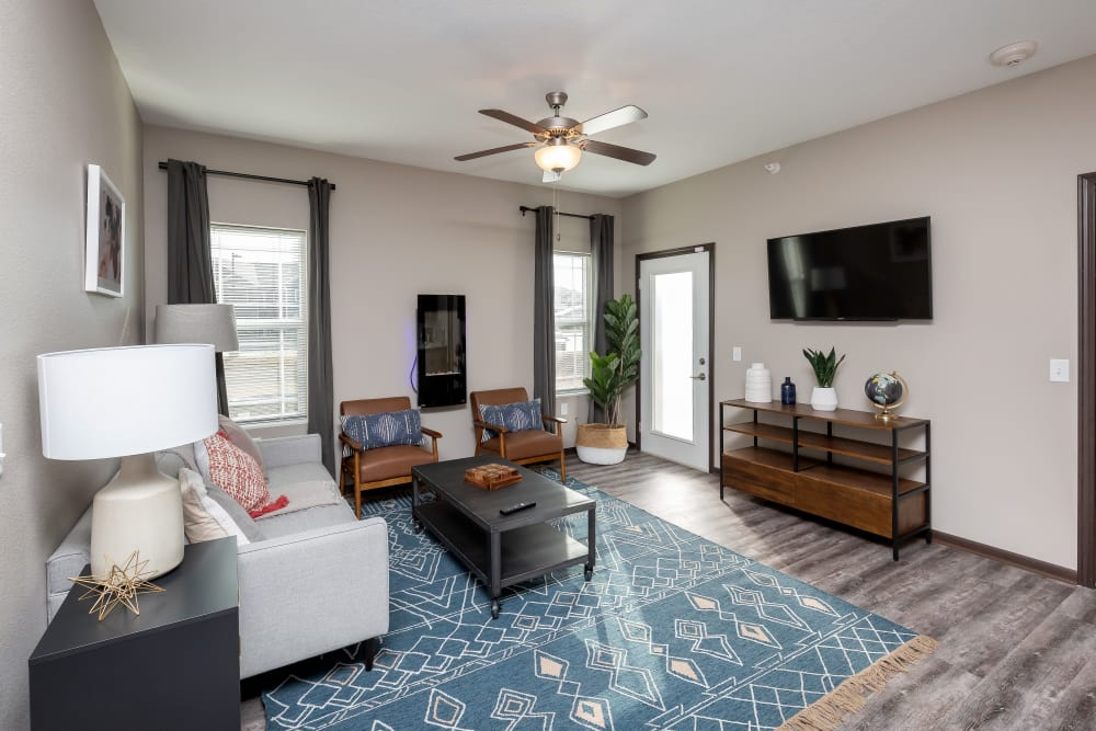 Bright, spacious living area at Autumn Ridge in Waukee, Iowa