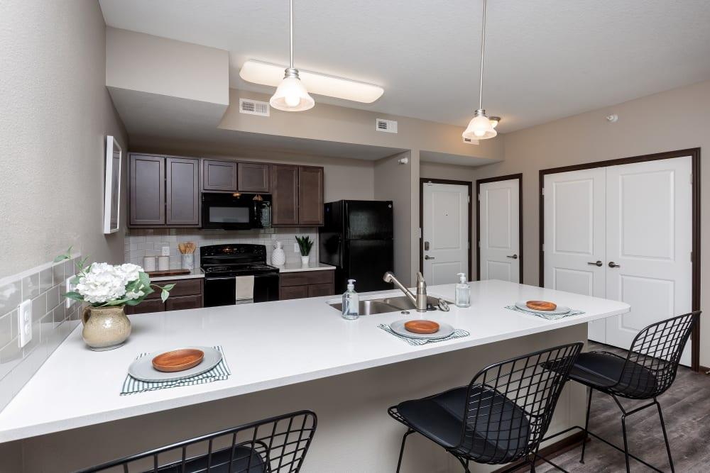 Modern, sleek kitchen at Autumn Ridge in Waukee, Iowa