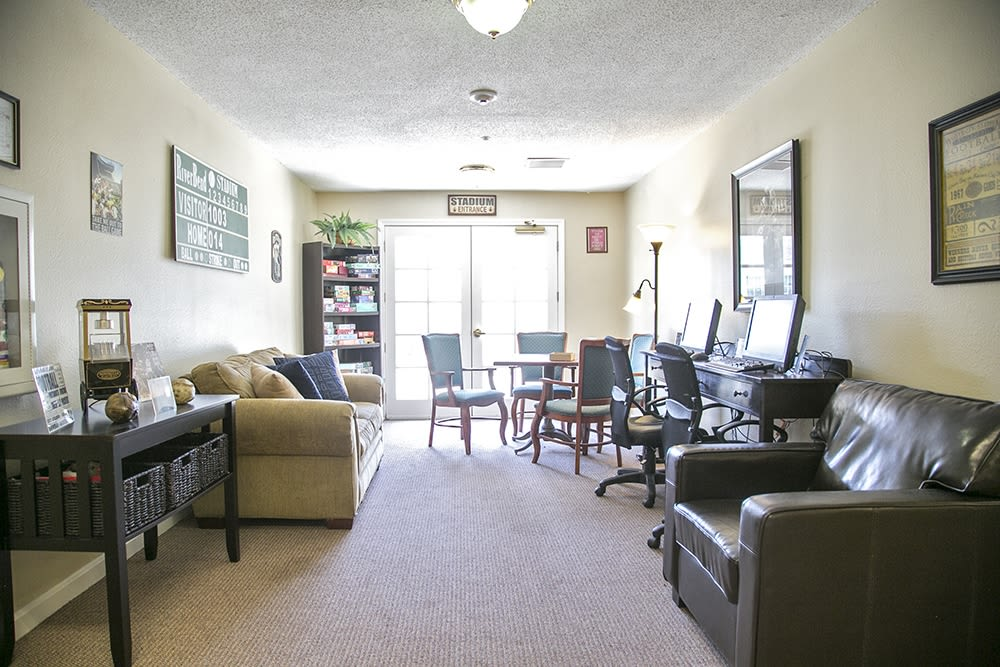 Resident community space with couches at Randall Residence of Wheelersburg in Wheelersburg, Ohio