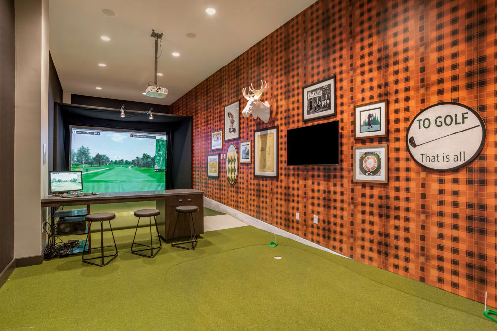Golf lounge at UNCOMMON Auburn in Auburn, Alabama