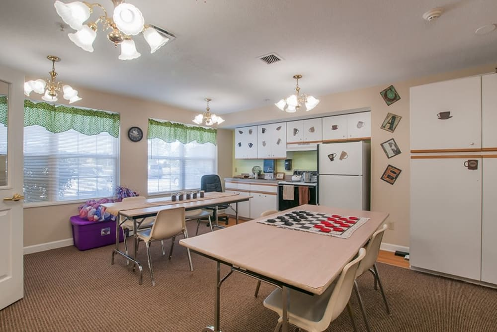 Resident community kitchen at Randall Residence of Troy in Troy, Ohio