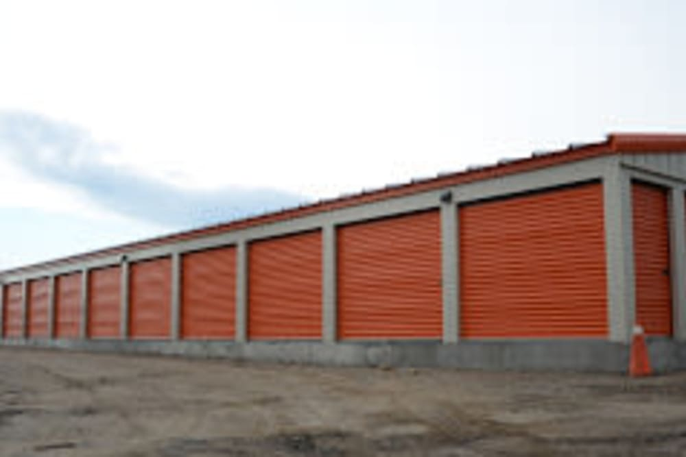View of outdoor storage units at Apple Self Storage in Thunder Bay, Ontario