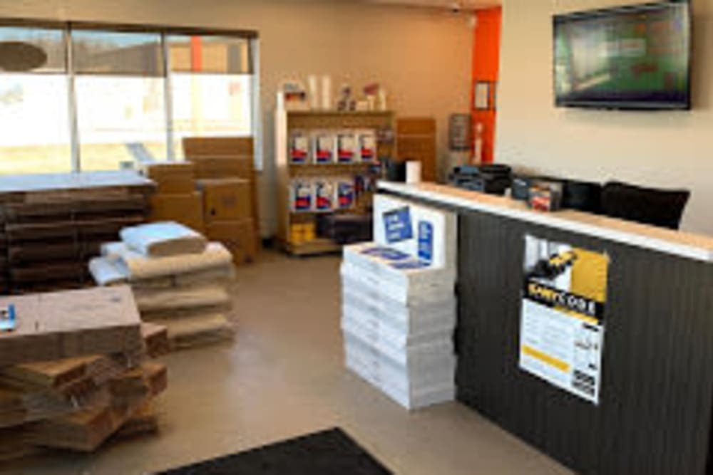 Office with packing and moving supplies at Apple Self Storage in Thunder Bay, Ontario