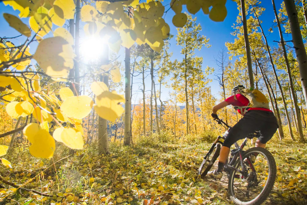 A customer on a bike ride near Firehouse Self Storage in Loveland, Colorado