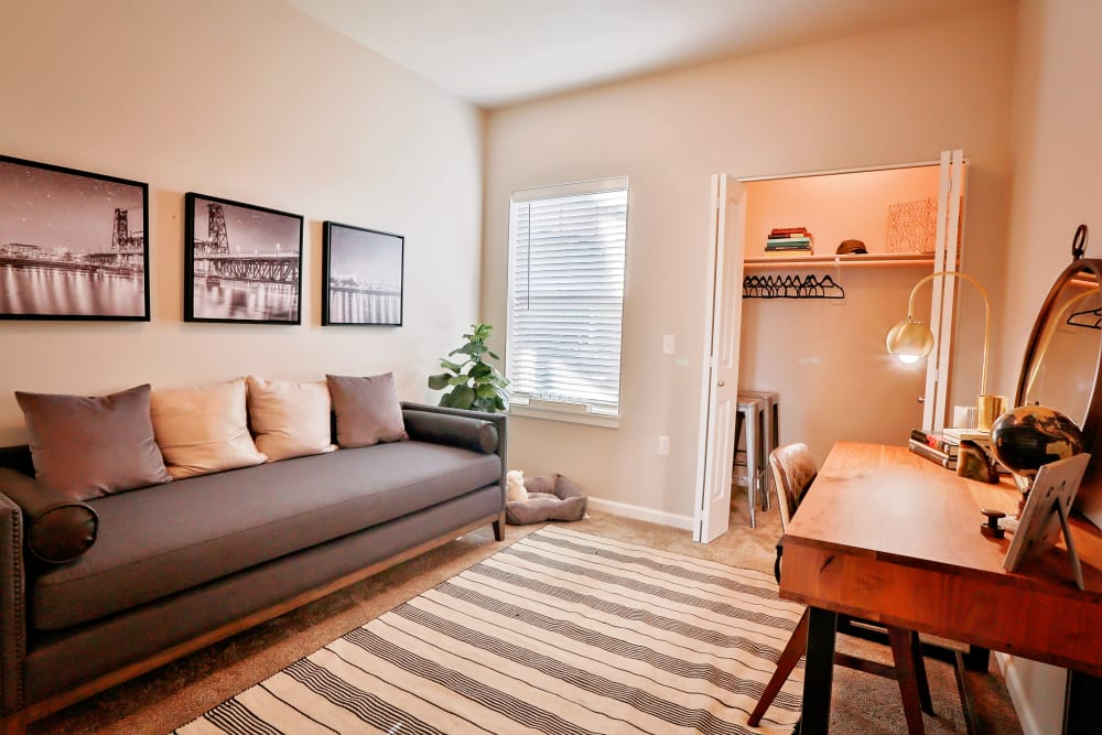 Model living room at The Boulevard in Philomath, Oregon