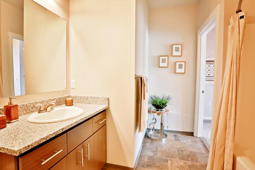 Bathroom  with granite counter top The Boulevard in Philomath, Oregon