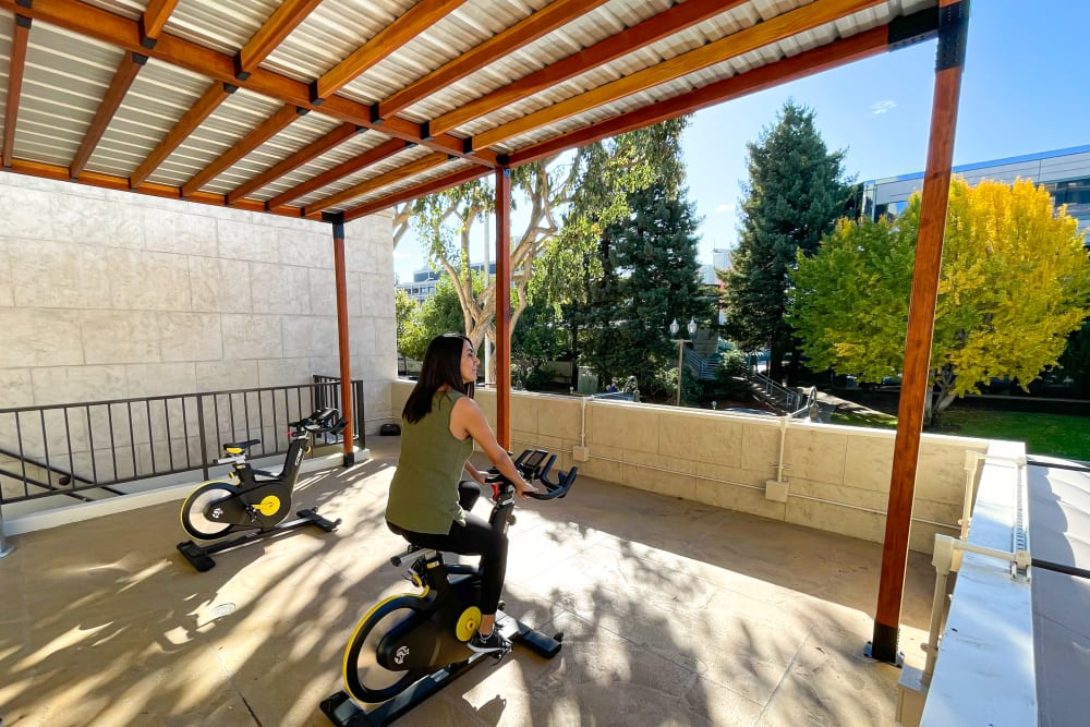 Fitness center for residents at Hillsborough Plaza Apartments in San Mateo, California
