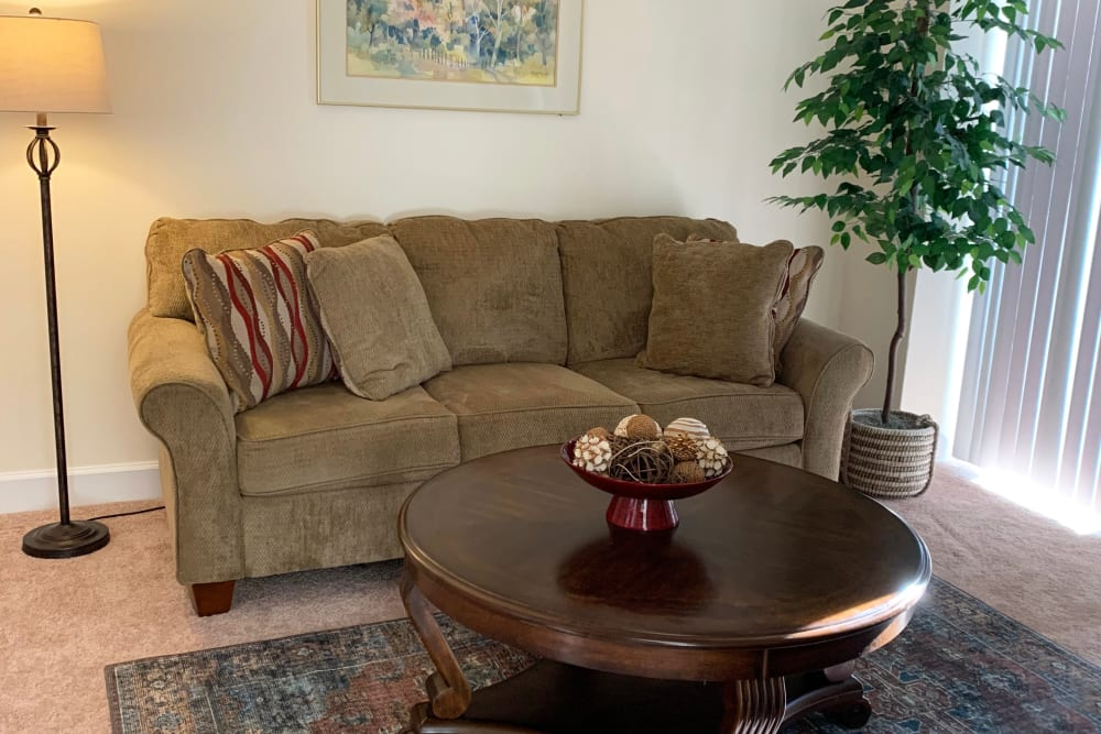room with couch and coffee table