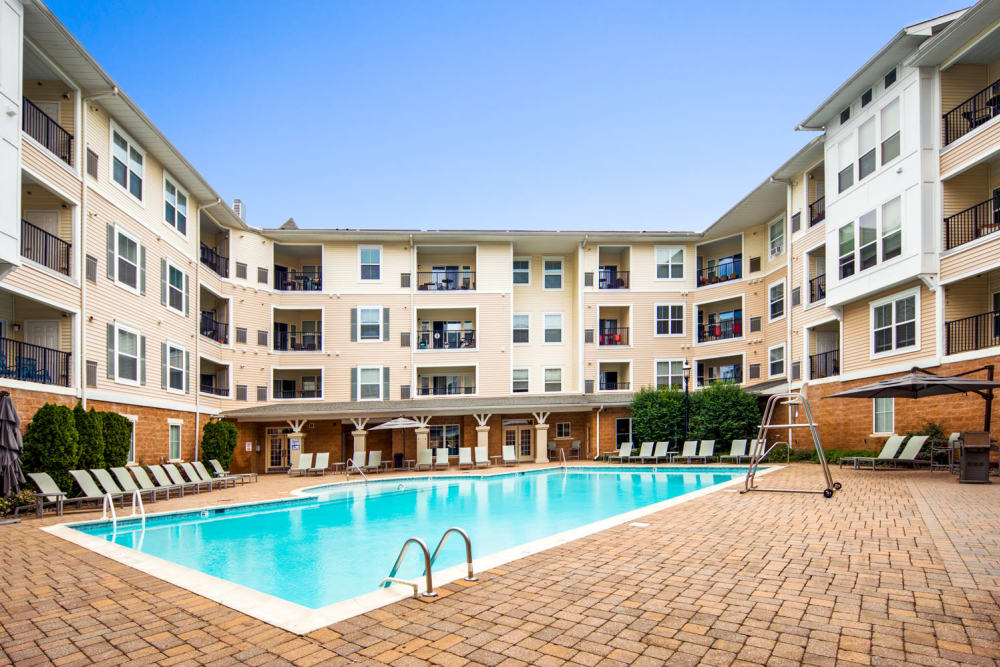 Resort-style pool at Sofi Gaslight Commons in South Orange, New Jersey