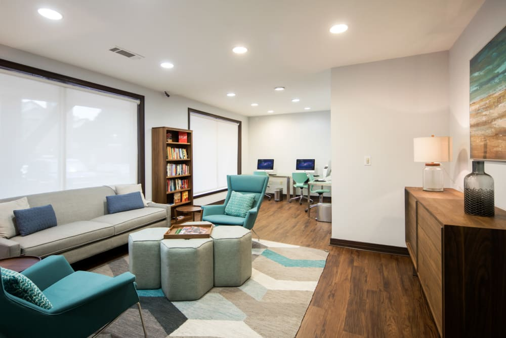 Comfy lounge for residents at Sofi Gaslight Commons in South Orange, New Jersey
