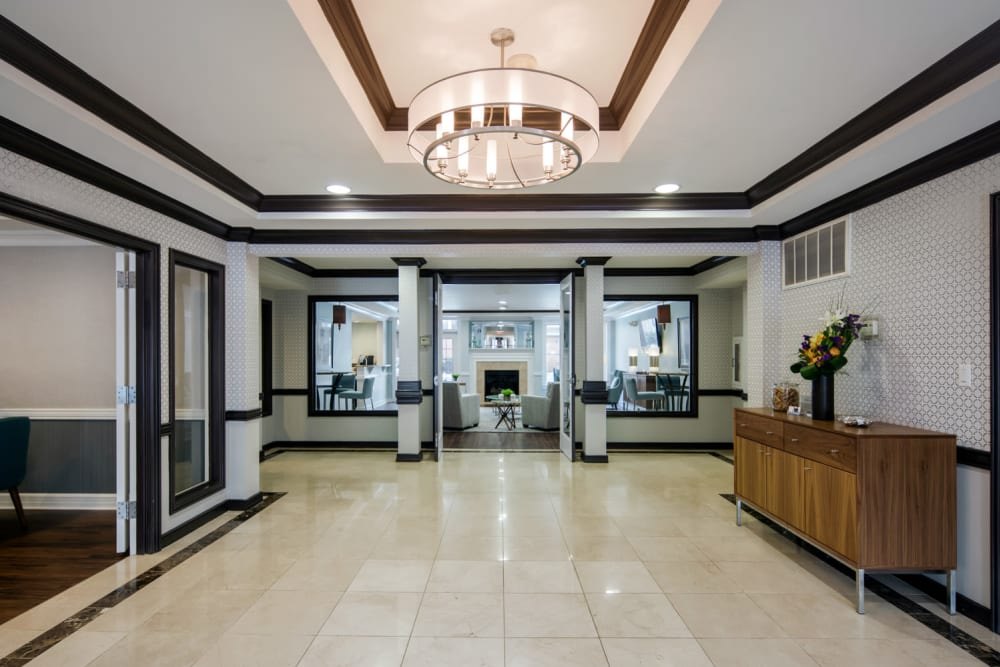 Bright and open lobby at Sofi Gaslight Commons in South Orange, New Jersey