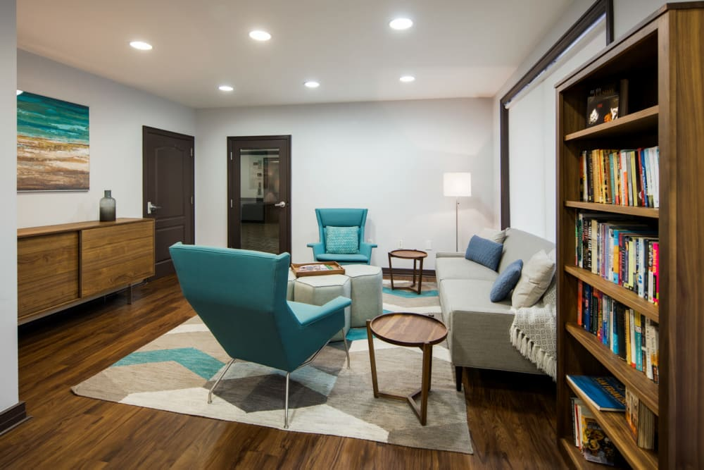 Comfortable resident lounge at Sofi Gaslight Commons in South Orange, New Jersey