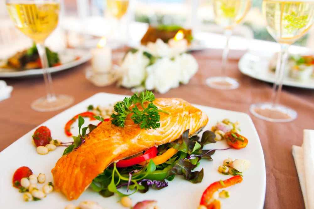 Delightful salmon dish at Castle Vista Senior Duplex Community in Atwater, California