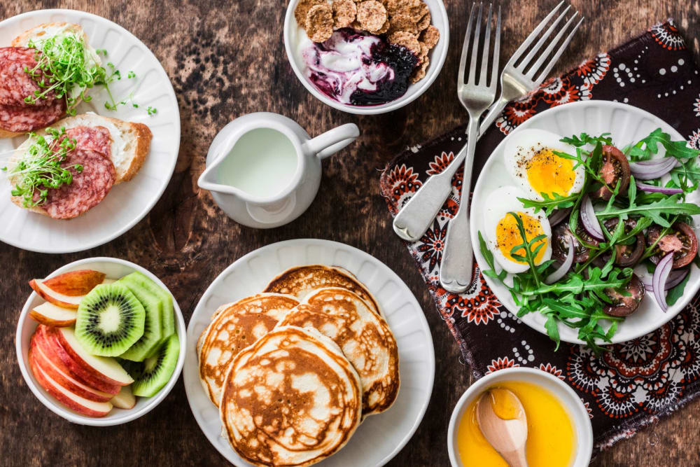 Delectable breakfast spread at Hilltop Commons Senior Living in Grass Valley, California