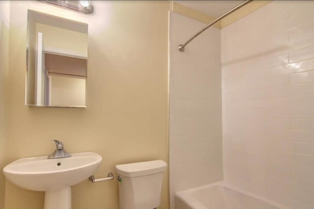 Bathroom at Dwight Gardens Apartments in New Haven, Connecticut