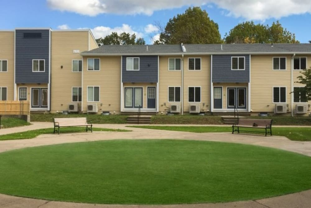 Grassy outdoor areas at Dwight Gardens Apartments in New Haven, Connecticut