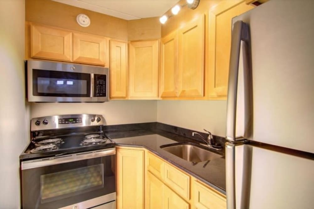 Stainless-steel appliances at Dwight Gardens Apartments in New Haven, Connecticut