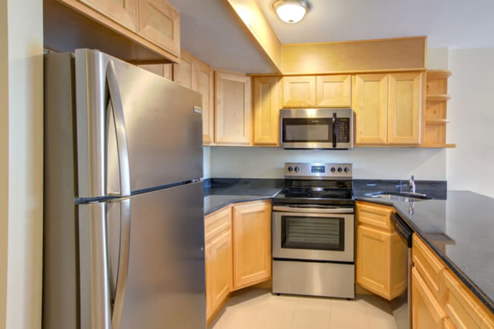 Kitchen at Dwight Gardens Apartments in New Haven, Connecticut