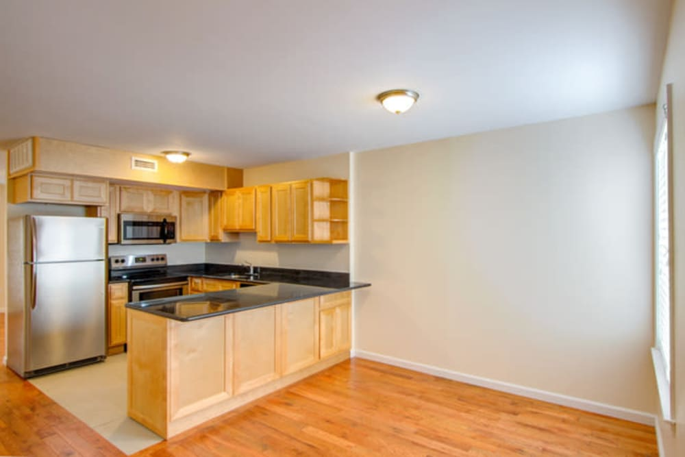 Spacious kitchen at Dwight Gardens Apartments in New Haven, Connecticut